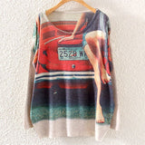 Printed Knitted Winter Long Sleeve Series 1-women-wanahavit-Red Car-One Size-wanahavit