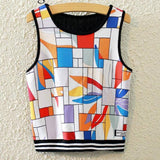 Knitted Crop Top Printed Sleeveless Shirt