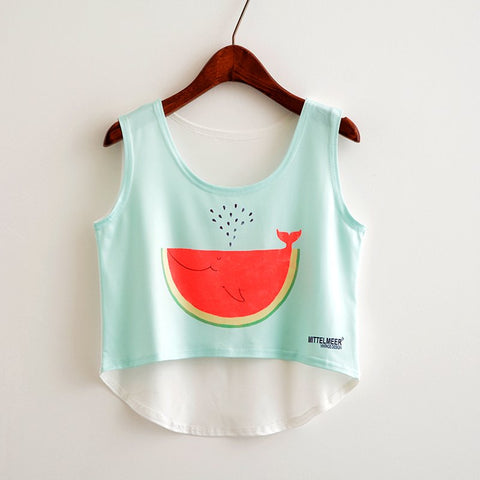 Cat Peeking Printed Crop Top Sleeveless Shirt-women-wanahavit-TP833-One Size-wanahavit