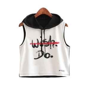 Crop Top Printed Sleeveless Hoodie-women fashion & fitness-wanahavit-Black Do It-L-wanahavit