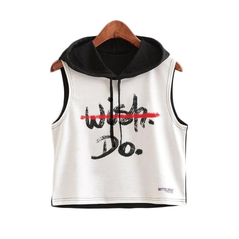 Crop Top Printed Sleeveless Hoodie