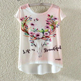 Watercolor Giraffe Printed Tees-women-wanahavit-Life is Beautiful-M-wanahavit