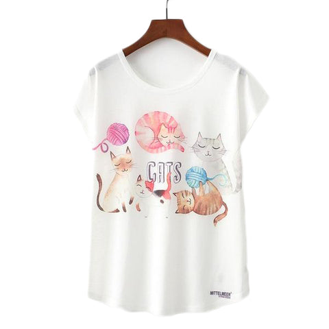 Cats Printed Tees-women-wanahavit-L-wanahavit