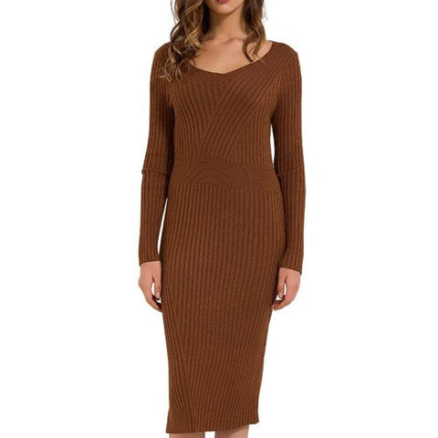 Knitted Pencil Slim Sweater Dress