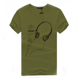Casual T-Shirt Printed Rock & Roll-men-wanahavit-Army Green-S-wanahavit