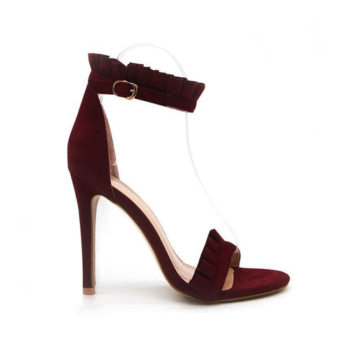 Buckle Strap High Heels Ruffle Sandals-women-wanahavit-Wine Red-6.5-wanahavit