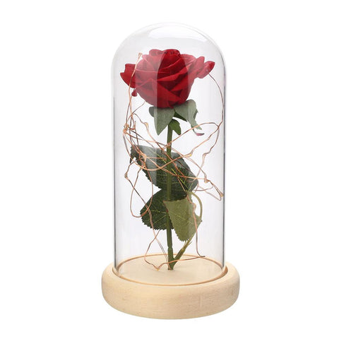 LED Flashing Luminous Artificial Rose with Vase-home accent-Beige-wanahavit