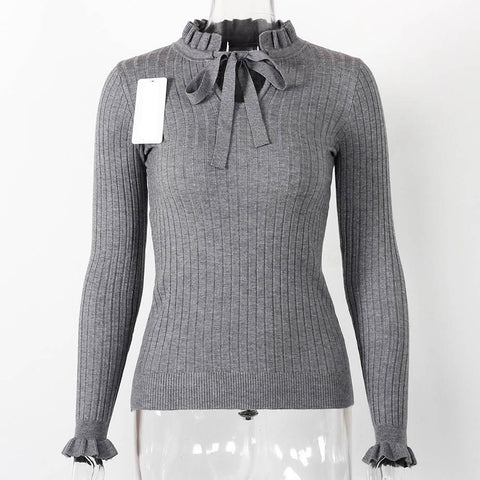 Lace Up Knitted Sweater Long Sleeve Sweater-women-wanahavit-Gray-One Size-wanahavit