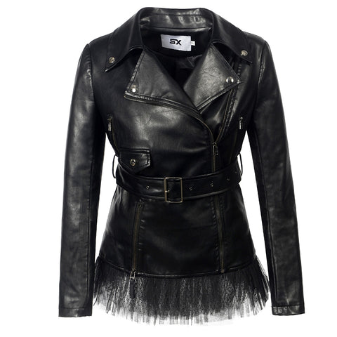 Gothic Biker Lace Faux leather PU Jacket