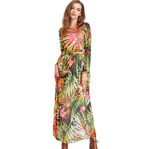 Leaf Print Long Sleeve Dress-women-wanahavit-Green-L-wanahavit