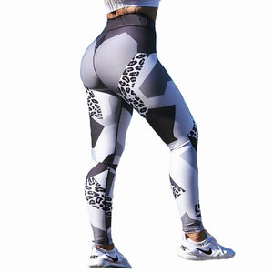 Geometric Leopard Workout Elastic Leggings-women fitness-wanahavit-Gray-S-wanahavit