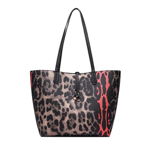 Leopard Printed Large Casual Tote Bag + Handbag-women-wanahavit-as picture-(20cm<Max Length<30cm)-wanahavit