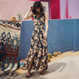 Bohemian Floral Print Long Beach Dress
