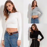 Soild Long Sleeve Crop Top Shirt-women-wanahavit-White-S-wanahavit