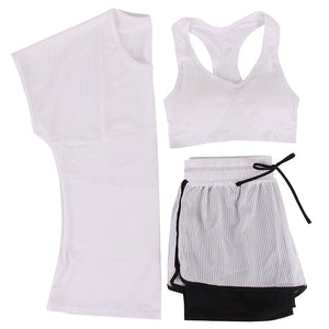 Breathable Mesh Yoga Set Tee + Short + Sportbra-women fitness-wanahavit-White-L-wanahavit