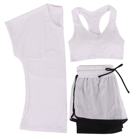 Breathable Mesh Yoga Set Tee + Short + Sportbra