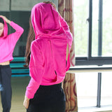 Breathable Backless Patched Hooded Long Sleeve - women fitness - wanahavit