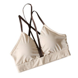 Sexy Backless Deep V Shockproof Sport Bra-women fitness-wanahavit-Cracker khaki-S-wanahavit