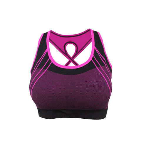 Quick Dry Color Accent Stripes Padded Sports Bra