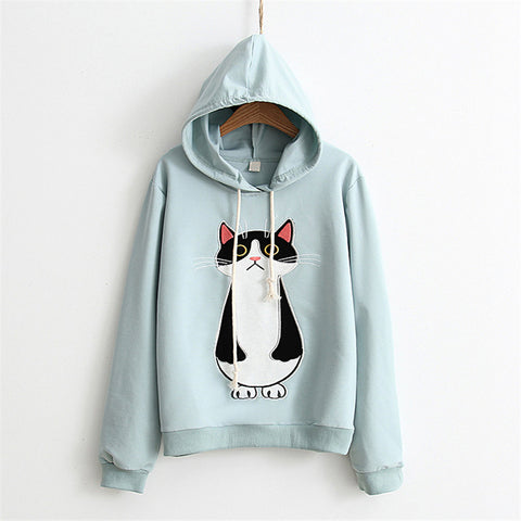 Standing Cat Embroidered Solid Color Hoodies-women-wanahavit-light green-One Size-wanahavit