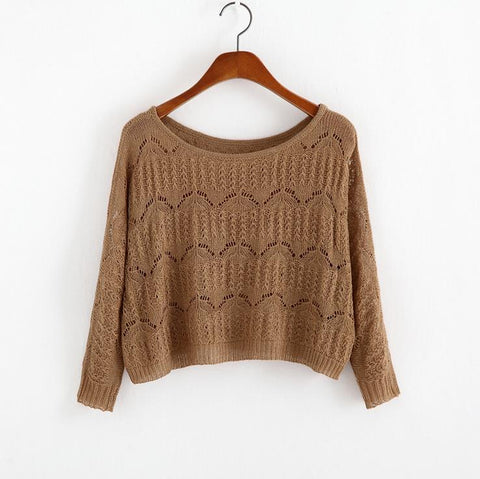 Hollow Out Knitted Long Sleeve Sweatshirt