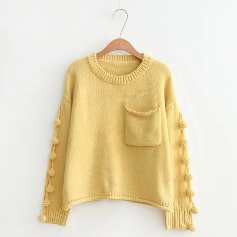 Casual Pocketed Tassel Knitted Sweater-women-wanahavit-Yellow-One Size-wanahavit