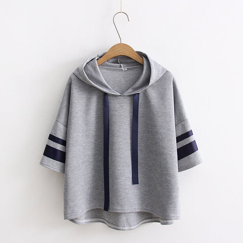 Casual Striped Sleeve Loose Hooded Sweatshirt