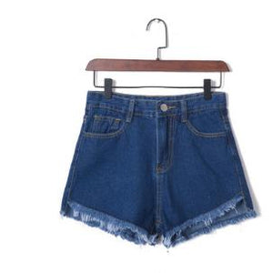 High Waist Stretchable Denim Shorts-women-wanahavit-Blue-26-wanahavit