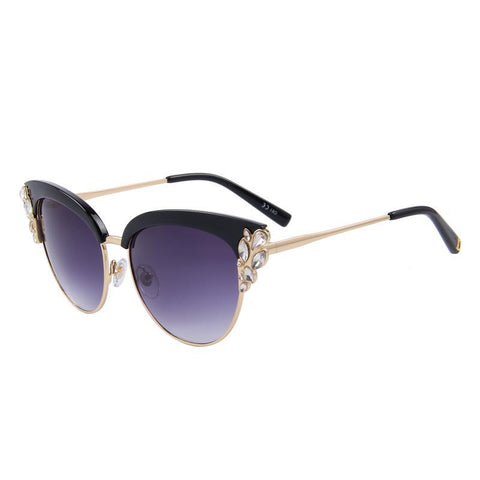 Flower Crystal Decoration Cat Eye Sunglass-women-wanahavit-C01 Black-wanahavit