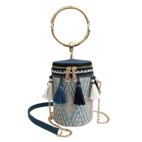 Japan Style Bucket Cylindrical Straw Handbag-women-wanahavit-Blue-wanahavit