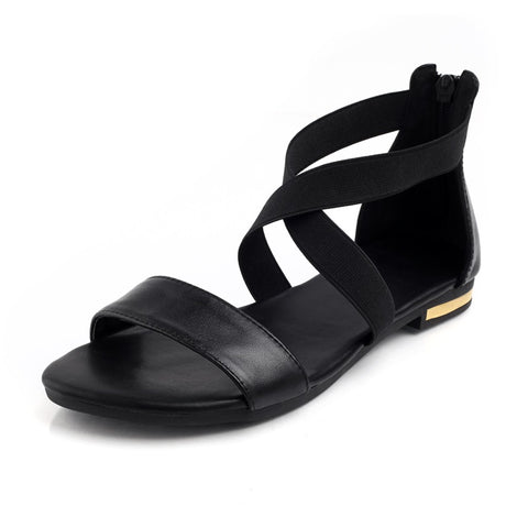 Genuine Leather Crisscross Sandals-women-Black-3.5-wanahavit