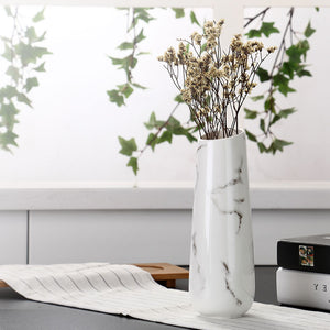 Marble Ceramic White Vase-home accent-wanahavit-White-wanahavit