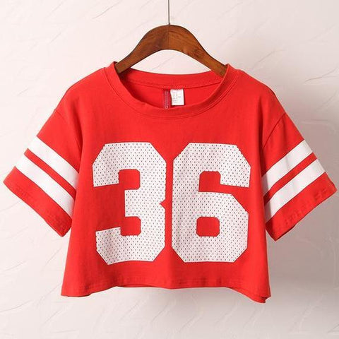36 Printed Crop Top Jersey Shirt
