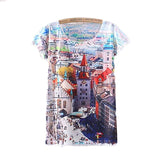 Town Scenery Printed Short Sleeve Tees