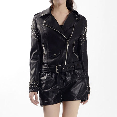 Gothic Punk Rivet Biker PU Faux Leather Jacket