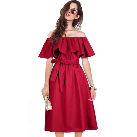 Ruffle Sexy Off Shoulder Dress with Bow Belt
