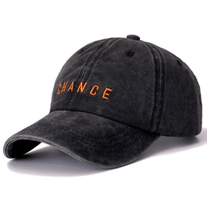 CHANCE Letter Embroidered Washed Cotton Baseball Adjustable Snapback Cap