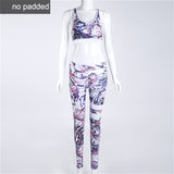 Floral Printed Work Out Set Elastic Legging + Sportsbra-women fitness-wanahavit-Purple-L-wanahavit