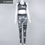 Floral Printed Work Out Set Elastic Legging + Sportsbra-women fitness-wanahavit-Black-L-wanahavit
