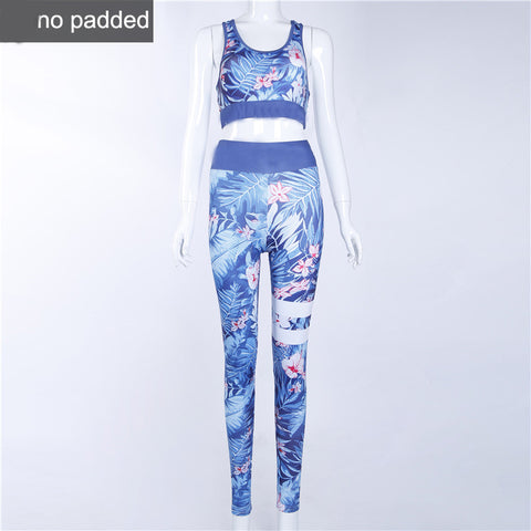 Floral Printed Work Out Set Elastic Legging + Sportsbra-women fitness-wanahavit-Blue-L-wanahavit