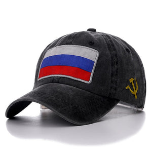 Russian Flag Washed Cotton Baseball Adjustable Snapback Cap