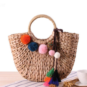 Tassel Rattan Beach Straw Handmade Tote Bag-women-wanahavit-Hairball Bag-wanahavit