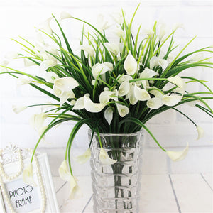 25 Heads Artificial Calla with Silk Leaf Bouquet-home accent-wanahavit-White-wanahavit