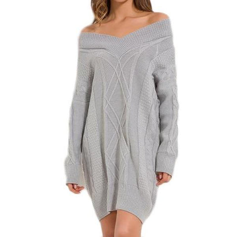 Thick Off Shoulder Knitted Sweater Dress