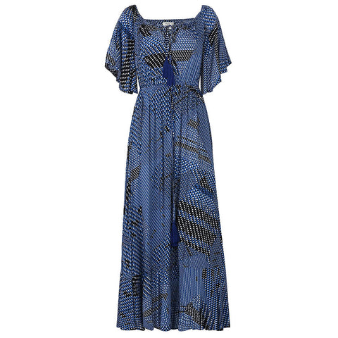 Off Shoulder Maxi Ruffle Long Dress-women-wanahavit-Print-L-wanahavit