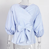 Sexy Off Shoulder Lantern Sleeve Wrap Blouse-women-wanahavit-Blue-L-wanahavit