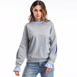 Fake Two Piece Patchwork Ruffle Sweatshirt-women-wanahavit-Gray-L-wanahavit
