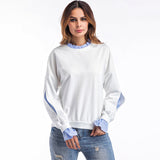 Fake Two Piece Patchwork Ruffle Sweatshirt-women-wanahavit-White-L-wanahavit