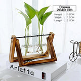 Transparent Glass Decorative Vase with Wooden Tray-home accent-wanahavit-Brown 1-wanahavit