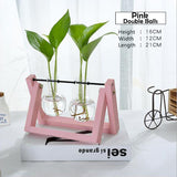 Transparent Glass Decorative Vase with Wooden Tray-home accent-wanahavit-Pink 1-wanahavit